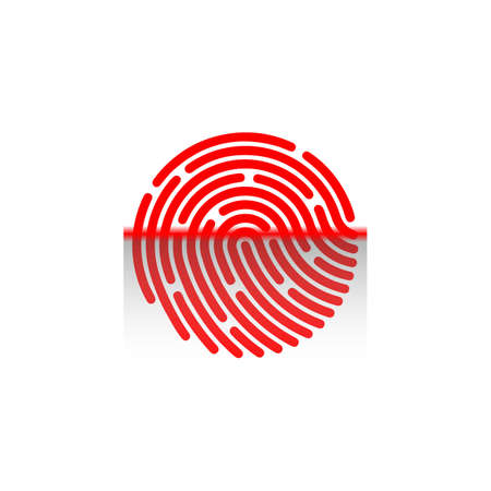 Fingerprint scanning icon isolated on white background. Biometric authorization symbol.