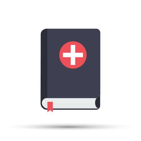 Medical book. Vector illustration, icon flat style design with long shadow. Medical reference books. Vektoros illusztráció