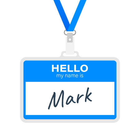 Blue vector Hello my name is label sticker on white background.