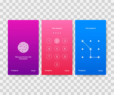Screen lock authentication password smartphone background template. Illustration of phone ID recognition screenlock password or lockscreen passcode numbers display.
