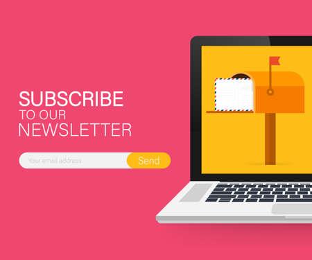 Subskrybuj e-mail, szablon wektora biuletynu online ze skrzynką pocztową i przycisk przesyłania na ekranie laptopa.