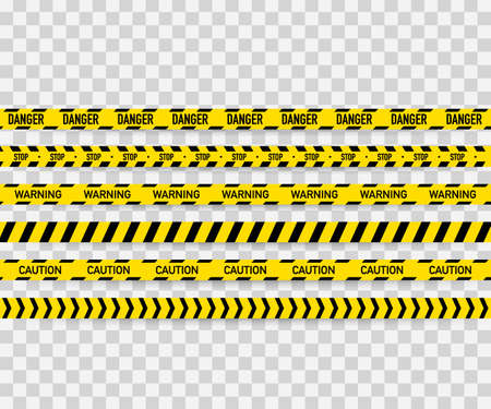 Vector set of seamless caution tapes. Warning tape, danger tape, caution tape, danger tape, under construction tape.