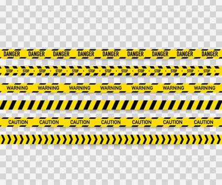 Vector conjunto de cintas de precaución sin fisuras. Cinta de advertencia, cinta de peligro, cinta de precaución, cinta de peligro, cinta de construcción. Ilustración de vector