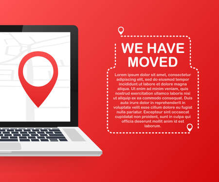 We have moved. Moving office sign. Clip art image isolated on red background.