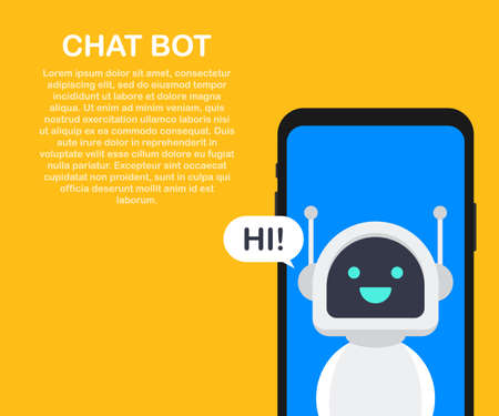 Chatbot banner concept. Horizontal business banner template with illustration of man chatting with chat bot in smartphone. Çizim
