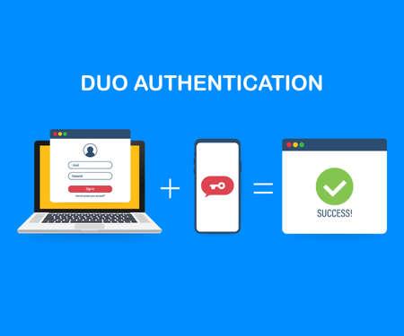 Banner de concepto de autenticación dúo con lugar de texto. Se puede utilizar para banner web, infografías, imágenes de héroes. Ilustración de stock vectorial.