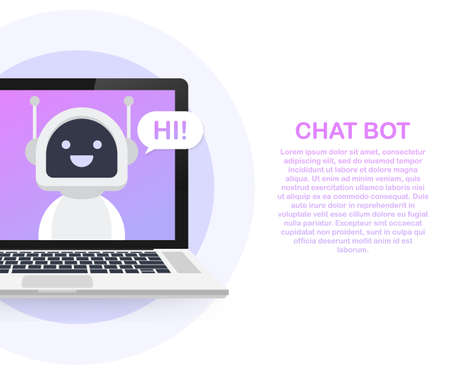 Chat Bot Using Laptop Computer, Robot Virtual Assistance Of Website Or Mobile Applications. Voice support service bot. Online support bot. Illustration