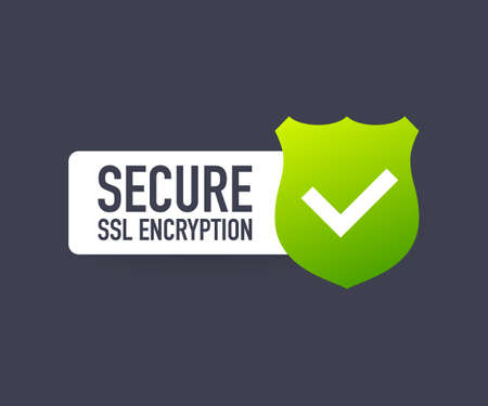 Secure connection icon vector illustration isolated on white background, flat style secured ssl shield symbols. Vector Illustration