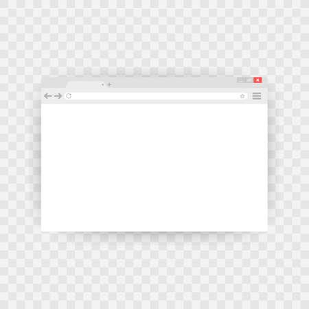 Eenvoudig browservenster op blauwe achtergrond. Browser zoeken. Webbrowser in platte stijl. Vector Illustratie