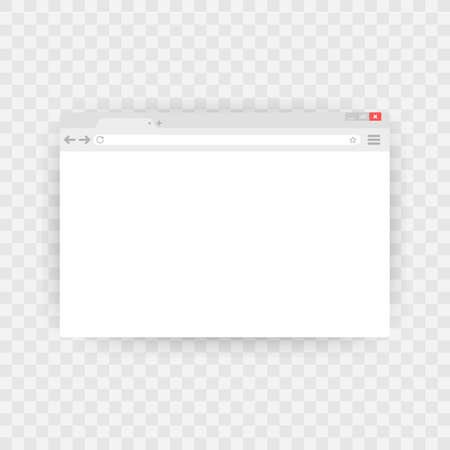 Simple browser window on blue background. Browser search. Web browser in flat style.