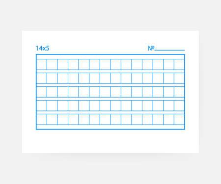 14 x 5 Quadratisches Manuskriptpapier auf weißem Hintergrund.