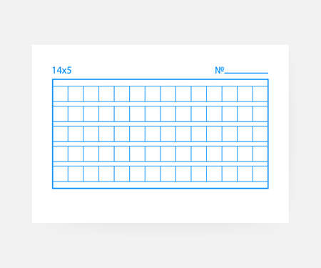 14x5 Squared manuscript paper on white background. Stock Vector - 112392749