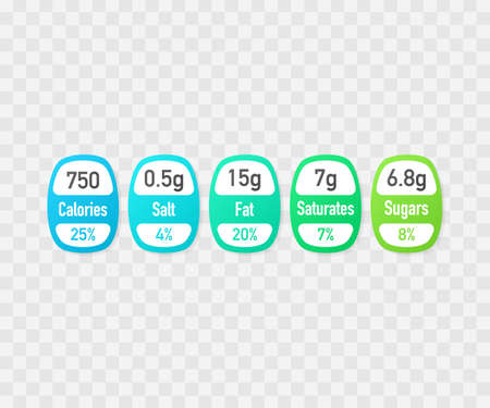 Nutrition facts vector package labels with calories and ingredient information. Illustration of daily nutritional ingredient and calories.