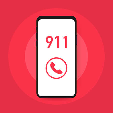 Call 911, emergency call concept. Hand holding smartphone, finger touching call button.