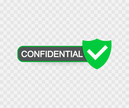Confidential green stamp vector, isolated on transparent background. Flat icon.