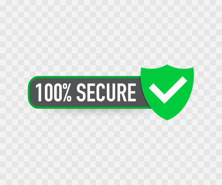 100 Secure grunge vector icon. Badge or button for commerce website. Çizim