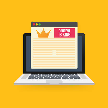 Content is king, marketing concept on a laptop screen. Flat illustration on yellow background.