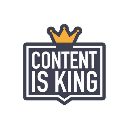 Content is king, flat icon, badge on white background.