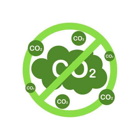 Ecological stop co2 emissions sign on white background.