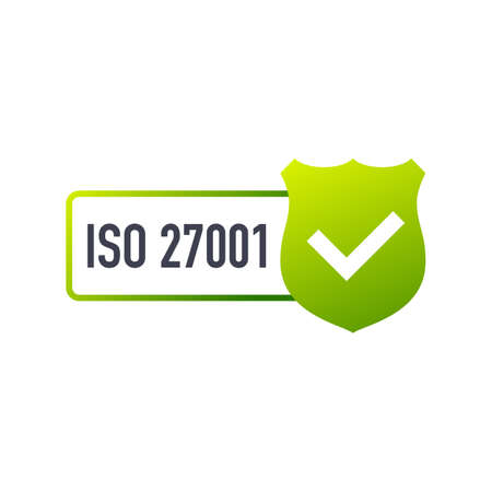 ISO 27001 Certified badge, icon. Certification stamp. Flat design.