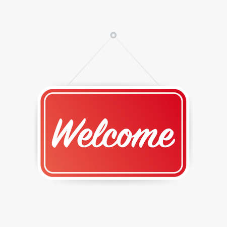 Welcome hanging sign on white background. Sign for door. Vector stock illustration. Vettoriali