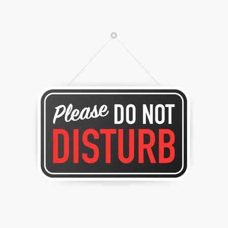 Bitte stören Sie nicht hängendes Schild auf weißem Hintergrund. Schild für Tür. Vektorgrafik auf Lager.