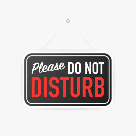 Please do not disturb hanging sign on white background. Sign for door. Vector stock illustration. Ilustração