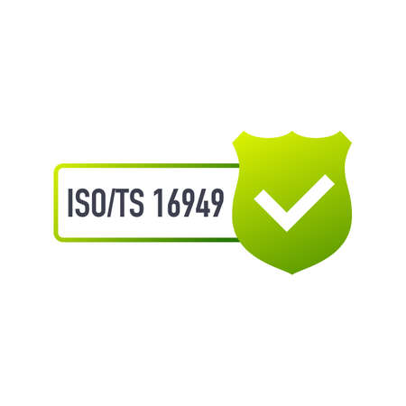 ISO TS 16949 Certified badge, icon. Certification stamp. Flat design. Vector stock illustration.