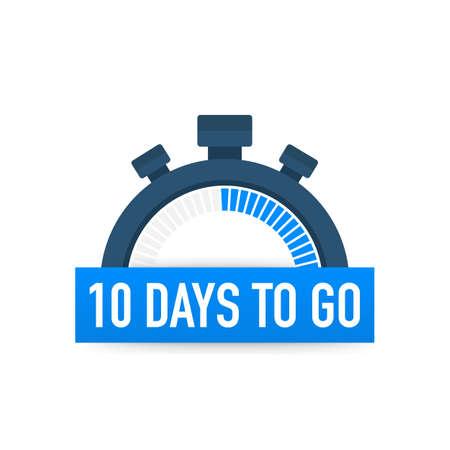 Diez días para el final. Icono de tiempo. Ilustración de stock vector sobre fondo blanco.