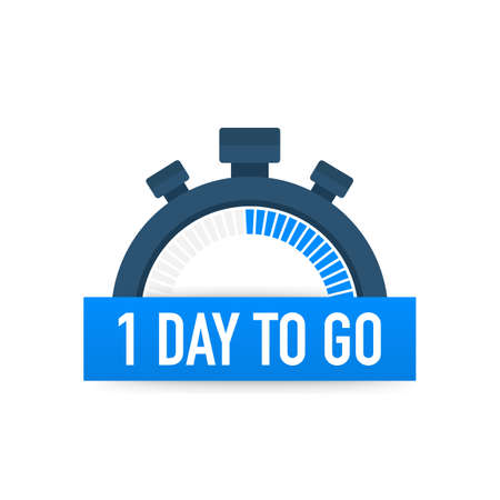 One day to go. Time icon. Vector stock illustration on white background.