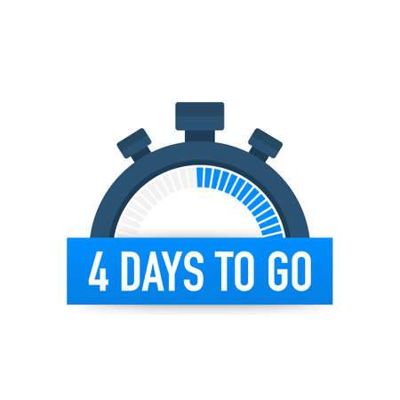 Four days to go. Time icon. Vector stock illustration on white background. Banque d'images - 113292214