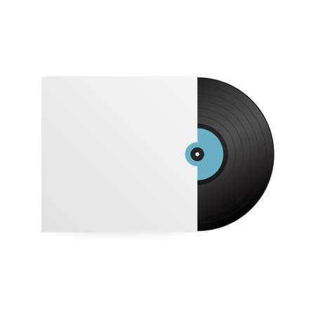 Realistic Vinyl Record with Cover Mockup. Disco party. Retro design. Vector stock illustration.