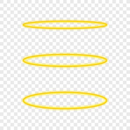 Ensemble bague ange Halo. Cercle de nimbus doré sacré isolé sur fond transparent. Illustration vectorielle de stock. Vecteurs