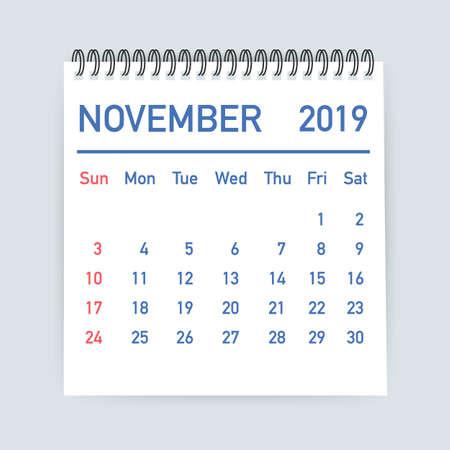 November 2019 Calendar Leaf. Calendar 2019 in flat style. A5 size.  Vector stock illustration.