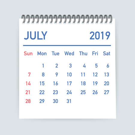 July 2019 Calendar Leaf. Calendar 2019 in flat style. A5 size. Vector stock illustration.