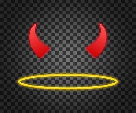Hell or heaven. An angel's halo and devil's horns isolated on transparent background. Vector stock illustration. Vektoros illusztráció