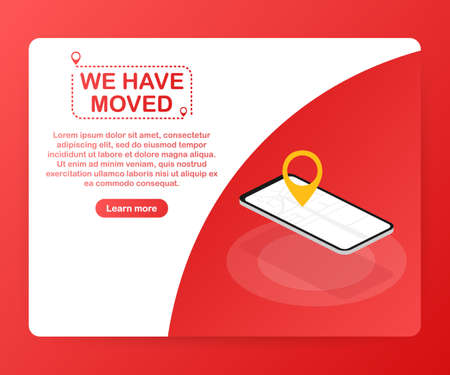 We have moved. Moving office sign. Clipart image isolated on red background. Vector stock illustration. Stockfoto - 113145959
