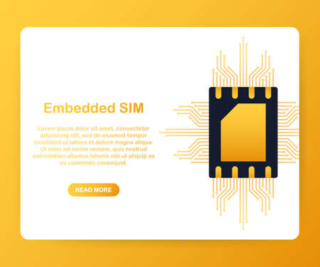 eSIM card chip sign. Embedded SIM concept. New mobile communication technology. Vector stock illustration Illustration