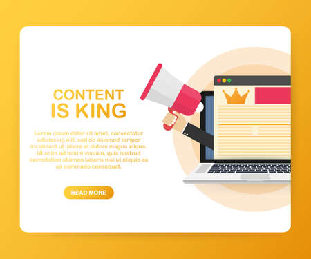 Content is king, marketing concept on a laptop screen. Flat vector stock illustration on yellow background.
