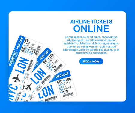 Airline tickets online. Buying or booking online ticket. Travel, business flights worldwide. Vector stock illustration.