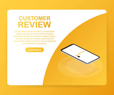 Customer review, Usability Evaluation, Feedback, Rating system isometric concept. Vector stock illustration