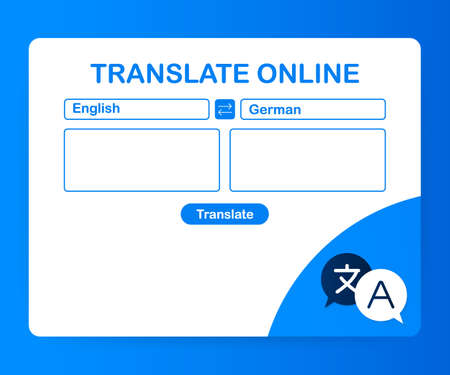 Language translation color icon. Online translator. Spell check. Computer screen with text translating app. Vector stock illustration. Stock Illustratie