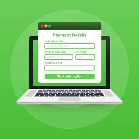 Online payment form. Online digital invoice on laptop. Vector stock illustration. Vector Illustration