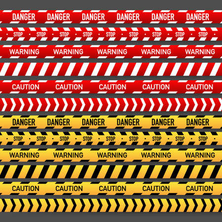 Impostare la striscia di polizia rossa e gialla. Illustrazione di riserva di vettore Vettoriali