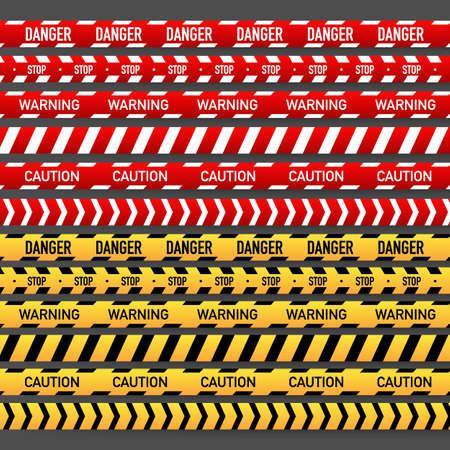 Set Roter und gelber Polizeistreifen. Vektorgrafik auf Lager Vektorgrafik