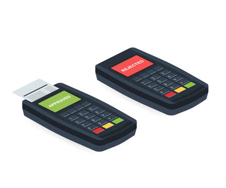Concept Payment terminals with cross and tick check marks on screen for, social media, documents, posters. Vector illustration confirms reject the payment by debit credit card, money, security Vektoros illusztráció