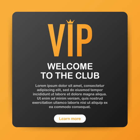 VIP club party premium invitation card poster flyer. Black and golden design template. Vector stock illustration.