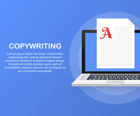 Concept for Copywriting, content development, freelance, blog post. Vector stock illustration.