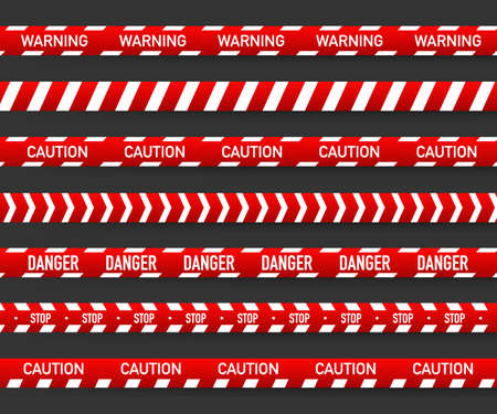 Red and white police stripe. Vector stock illustration