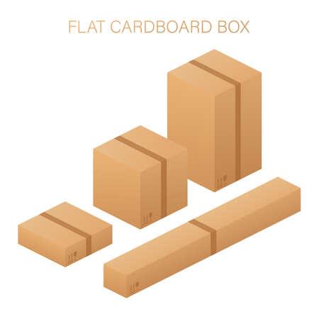 Vector set. Flat carton box. Delivery and packaging. Transportation, shipping. Vector stock illustration. Illustration